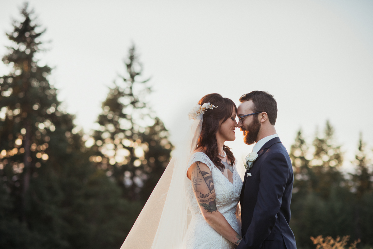 bride and groom at Mt. Hood Organic Farms at sunset.