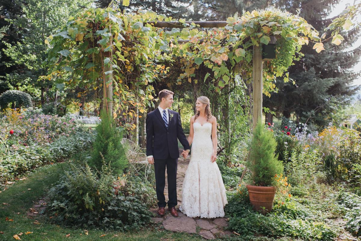 bride and groom at mt. hood organic farms